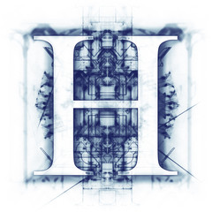 Blue Abstract Letter H