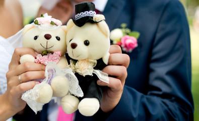 wedding couple and bears