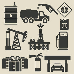 oil production industry icons set