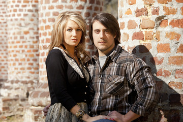 young couple in love, serious look