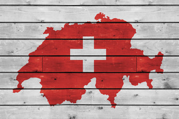 switzerland map on wood texture background