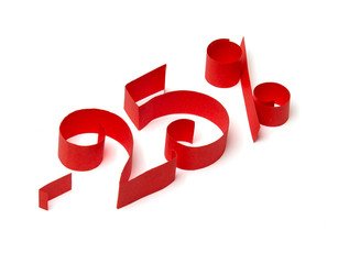 25 % discount sign of red paper