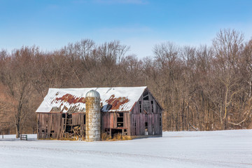 Snowy Old Barn and Silo