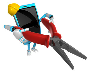 3D Smart Phone Mascot holding a Lone Nose with both hands. 3D Mo
