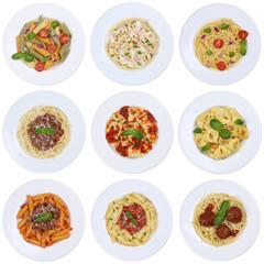 Sammlung von Spaghetti, Ravioli Nudeln Pasta Gericht Freisteller