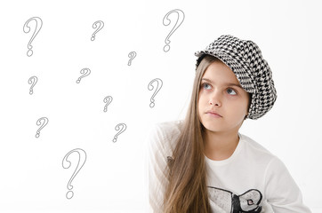 Beautiful girl with question marks above her head