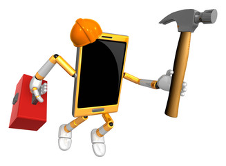 3D Smart Phone Mascot holding a with both hammer and toolbox. 3D
