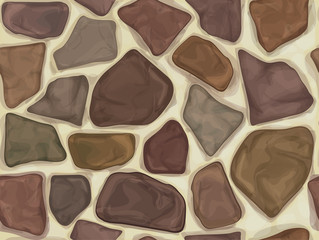 Vector seamless texture colorful stones wall.