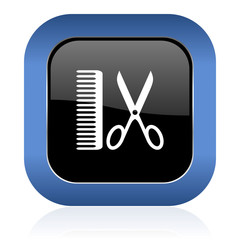 barber square glossy icon