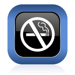 no smoking square glossy icon