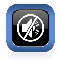 mute square glossy icon silence sign