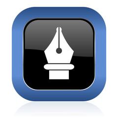pen square glossy icon