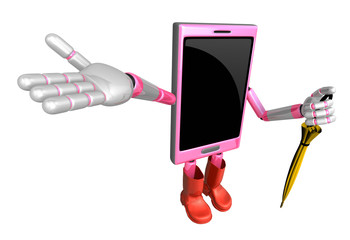 3D Smart Phone Mascot is holding an umbrella. 3D Mobile Phone Ch
