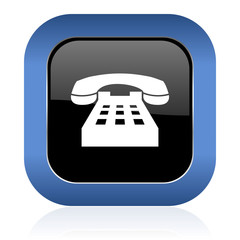 phone square glossy icon telephone sign