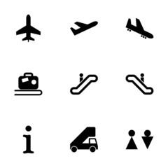 Vector black airport icon set