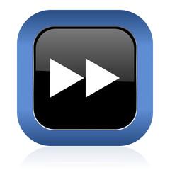 rewind square glossy icon