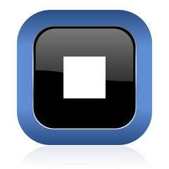 stop square glossy icon