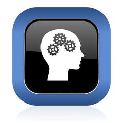 head square glossy icon human head sign