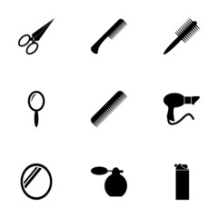 Vector black barber icon set
