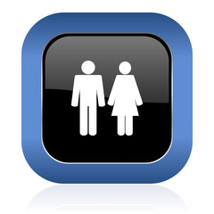 couple square glossy icon people sign team symbol