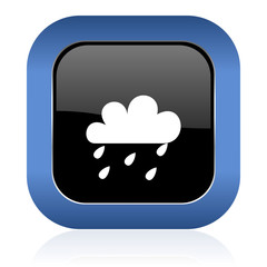rain square glossy icon waether forecast sign