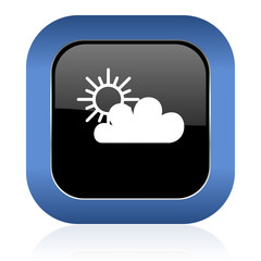 cloud square glossy icon waether forecast sign
