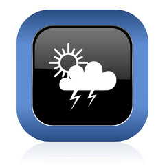 storm square glossy icon waether forecast sign