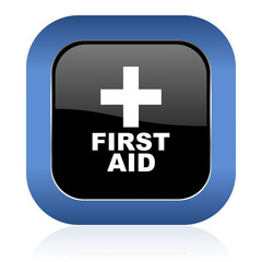 first aid square glossy icon