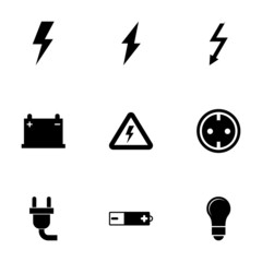 Vector black electricity icon set