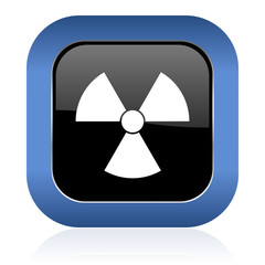 radiation square glossy icon atom sign