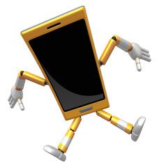 3D Smart Phone Mascot to be powerful and jumping. 3D Mobile Phon