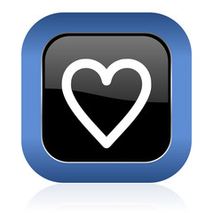heart square glossy icon love sign