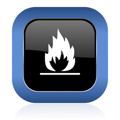 flame square glossy icon