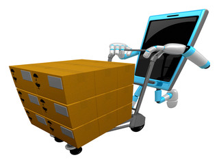 3D Smart Phone Mascot is pushing trolleys courier. 3D Mobile Pho