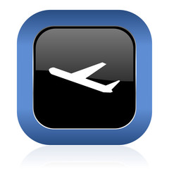 deparures square glossy icon plane sign