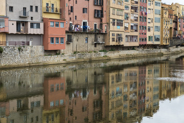 Girona river reflection landmark