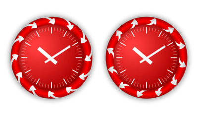 set two icons with arrows and watches