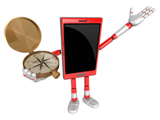 3D Smart Phone Mascot the right hand guides and the left hand is