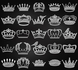 Vector Collection of Chalkboard Vintage Style Crown Silhouettes