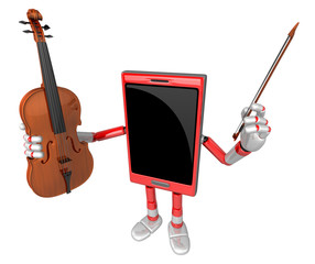 3D Smart Phone Mascot is holding a violin. 3D Mobile Phone Chara