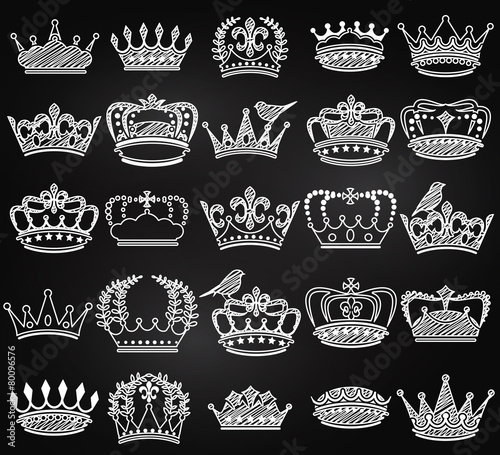 Vector Collection of Chalkboard Vintage Style Crown Silhouettes - 80096576