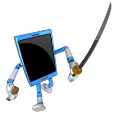 3D Smart Phone Mascot flourish a sword. 3D Mobile Phone Characte
