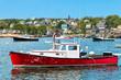 Leinwanddruck Bild - Lobster boat in the harbor, Maine, USA