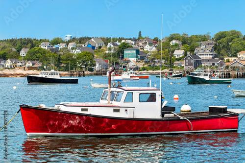 Leinwanddruck Bild Lobster boat in the harbor, Maine, USA