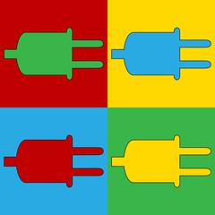Pop art power cord symbol icons.