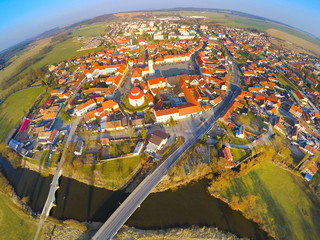 Aerial view to medieval Dobrany town in Czech Republic, Europe.