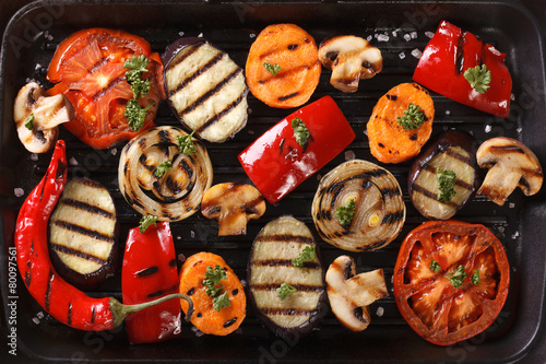 Background of grilled vegetables close up. Horizontal top view - 80097561