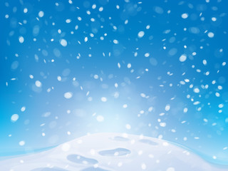 Vector winter snowfall background with footpath.