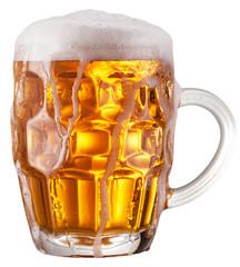 Mug of beer on white background.