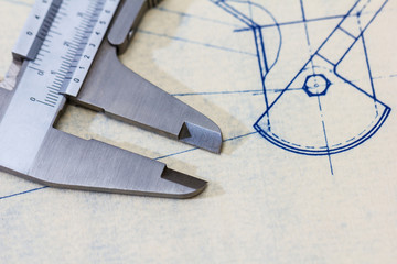 Very detailed mechanical engineering blueprint with calliper